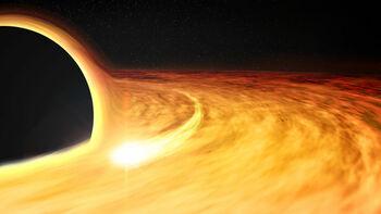 Καλλιτεχνική απεικόνιση της μαύρης τρύπας, ενώ καταβροχθίζει το άστρο (Πηγή: NASA/CXC/M. Weiss)