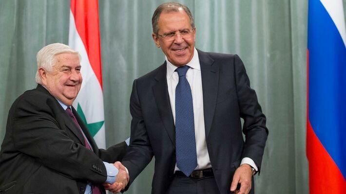 Ο Σύρος υπουργός Εξωτερικών με το Ρώσο ομόλογό του (πηγή: ΑΡ)