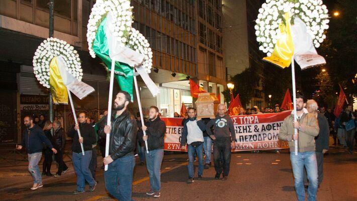 Φωτό από την κινητοποίηση του Συνδικάτου Οικοδόμων Αθήνας