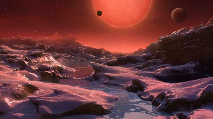 Καλλιτεχνική απεικόνιση του TRAPPIST-1 από έναν πλανήτη του (Πηγή: ESO)