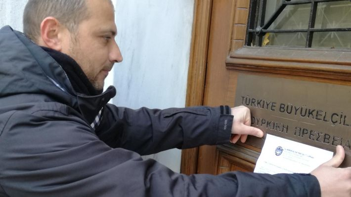 Από την διαμαρτυρία του ΠΑΜΕ στην πρεσβεία της Τουρκίας στην Αθήνα