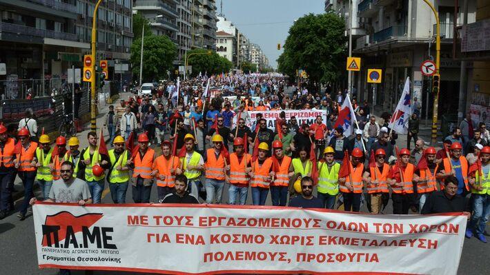 Από την περυσινή απεργιακή πορεία του ΠΑΜΕ την 1η Μάη στη Θεσσαλονίκη