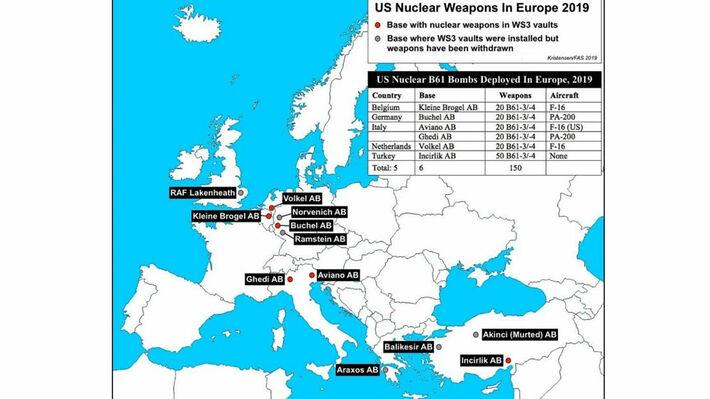 Το γράφημα της FAS όπου αποτυπώνονται οι βάσεις που φιλοξενούν ή μπορούν να αποθηκεύσουν πυρηνικά όπλα σε Ευρώπη και Τουρκία