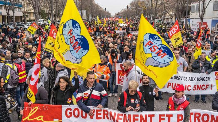 Φωτό αρχείου από απεργιακές διαδηλώσεις στη Γαλλία