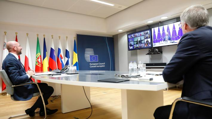 Από την τελευταία σύνοδο κορυφής της ΕΕ, μέσω τηλεδιάσκεψης
