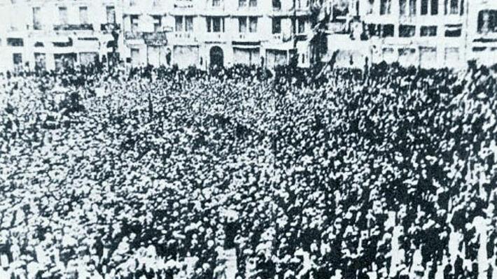 Λαοθάλασσα στη Θεσσαλονίκη τον Μάη του 1936
