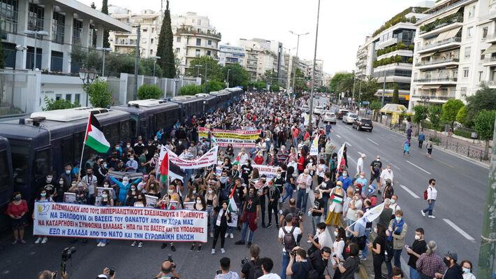 Από την μεγάλη αντιιμπεριαλιστική κινητοποίηση της ΕΕΔΥΕ στην Αθήνα στις 16 Μάη 2021