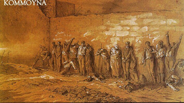 Πίνακας που απεικονίζει τουφεκισμό κομμουνάρων στον τοίχο του νεκροταφείου Περ Λασαίζ